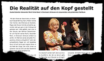 Die Realität steht Kopf. Pressekritik über Zauberer Alexander Merk aus Berlin